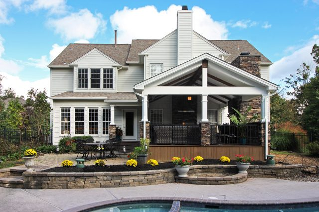 Custom Mocha TimberTech Barnwood Covered Porch and patio with stone Garnet Valley, PA
