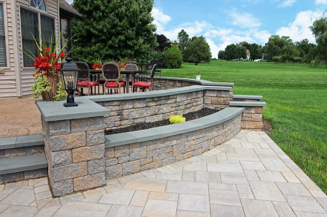 Techo bloc custom patio with flagstone cap and lantern in lancaster pa